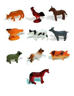 10 pc 2 plastic toy fm animals