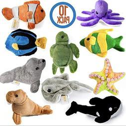 10 Piece Plush Soft Stuffed Sea Animals Plush Sea Life