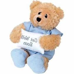 "11"" Plush PATIENT BEAR - FEEL BETTER Gift/Wearing Blue Hospi"
