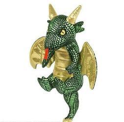 """11"""" Flying Dragon Plush Stuffed Animal Shiny Green Gold"""