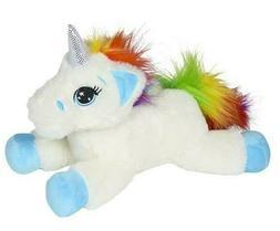"13"" Laying Unicorn Plush Stuffed Animal White Rainbow Blue S"