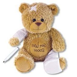 """15"""" Plush GET WELL SOON Teddy Bear w/Cast for Autograph - Sp"""