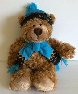 """Mary Meyer 18"""" Fluffy Brown Teddy Bear Hat Scarf Stuffed Ani"""