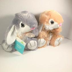 2 Bunny Rabbits Plush Stuffed Animals NEW Tan & Gray