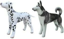 2 Dogs Husky Dalmatian Animal inflatable Stuffed Toys Kids F