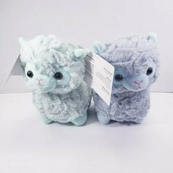 2 Llamas Plush Stuffed Animals NEW Super Soft Baby Blue & Gr