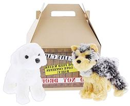 """Bundle of 2 Douglas 5"""" Plush Dogs with Carrier - Yonkers Yor"""