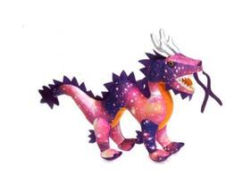 20 Inch Pink Galaxy Chinese Dragon Plush Stuffed Animal by F