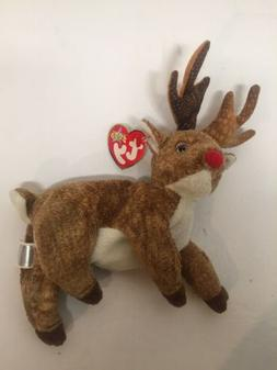2000 Ty Beanie Babies Collection Roxie Red Nose Reindeer