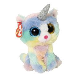 "TY Beanie Boos 6"" HEATHER Unicorn Kitty Unicat UniKitty Cat"