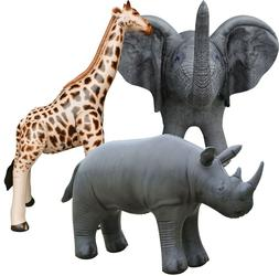 3 Inflatable Elephant Giraffe Rhino Stuffed Animals Jungle W