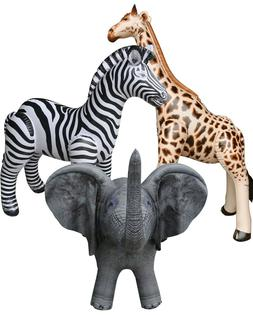 3 Inflatable Zebra Giraffe Elephant Stuffed Animals Jungle W