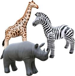 3 Inflatable Zebra Giraffe Rhino Stuffed Animals Jungle Wild