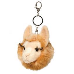 "3"" Llama fur fuzzle pom key ring chain by Douglas Toy stuffe"