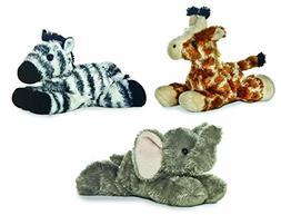 Bundle of 3 Aurora Plush Jungle Animals - Elephant, Giraffe,