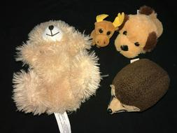 4 PLUSH ANIMALS STUFFED TOYS BEAR PUPPY DOG PRICKLES TY MOOS