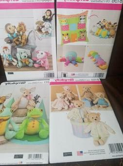 4 Simplicity Stuffed Animal Toy Patters New Uncut Frog Dog M