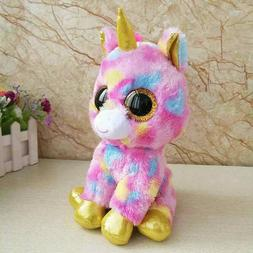 5.9'' Ty Beanie Boos Rainbow Unicorn Glitter Eye Plush Stuff