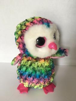 "6"" TY Beanie Boos 2017 New Owen Colored Owl Plush Stuffed An"