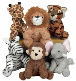 6 Stuffed Animals ZOO Safari Jungle TIGER LION GIRAFFE ZEBRA