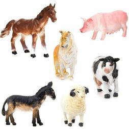 6Pcs Kids Toy Plastic Action Figure Farm Animals Pig Dog Cow