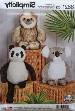 """Simplicity 8821 15"""" Stuffed Animals  Sloth, Panda and Koala"""