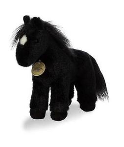 "9.5"" Small Black Horse Aurora Plush Miyoni Stuffed Animal"