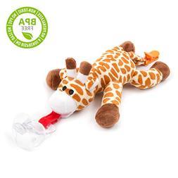 BabyHuggle Giraffe Pacifier - Stuffed Animal Binky, Soft Plu