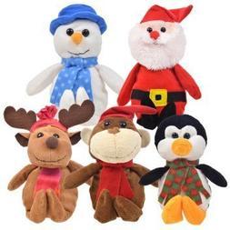 "Bundle: 5 Items - 9"" Plush Christmas Friends Reindeer, Santa"