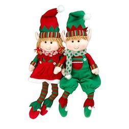 "Elf Plush Christmas Stuffed Toys- 18"" Boy and Girl Elves  Ho"