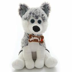 Husky Dog Plush Stuffed Animals Grandpa Message on Bone Kids