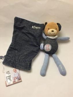 Kaloo Blue Denim Bear Plush Soft Toy Beige Brown Stuffed Ani