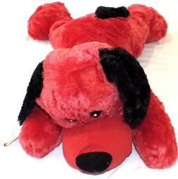 "Large Plush Dog Stuffed Animal 30"" Plush Paradise Red Black"
