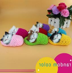 Mini Cute Slipper Kitten Soft Plush Doll Toys Sound Stuffed