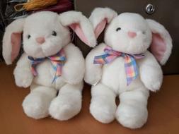 "NEW Hallmark Easter White & Pink  Bunny Plush 10"" Stuffed An"