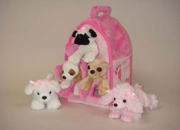 Plush Pink Dog House with Dogs - Five  Stuffed Animal Dogs i