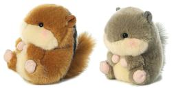 Set of 2 Aurora Stuffed Animals, ROMPER Chipmunk & NANIGANS