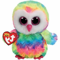 "TY Beanie Boos 6"" OWEN the Rainbow Owl Plush Stuffed Animal"