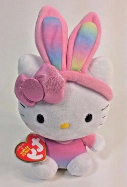 Ty Hello Kitty Bunny Rabbit Ears Pink Plush Rainbow  Stuffed