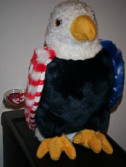 """Ty, Soar, Patriotic Eagle Beanie Buddy.10"""" tall Red,White,Bl"""