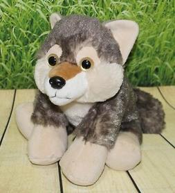 "Wild Republic WOLF Hug'ems 10"" Floppy Plush Gray Hug ems Stu"