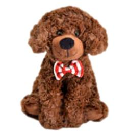 "Adorable 9"" Brown Scruffy Dog With Red And White Bow Tie"