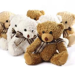 Adorable Fuzzy Furry Jointed Teddy Bears with Plaid Bow- Set