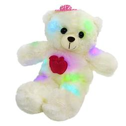 WEWILL LED Teddy Bear Stuffed Animals Light up Soft Plush To
