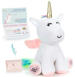 "Unicorn Stuffed Animal - Cute Unicorn Gifts Large 13"" White"
