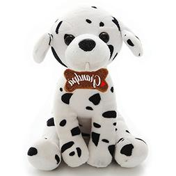 Plushland Adorably Stuffed Small Dog Holding a Bone, Message