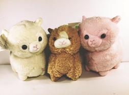 """Alpaca Llama Plush 7"""" Stuffed Animals Super Soft Pink Tan"""