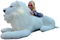 Big Plush American Made Giant Stuffed WHITE Lion 48 Inches S