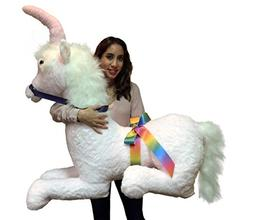 American Made Pink Giant Stuffed Unicorn Soft 4 Feet Wide, 3