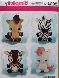 Simplicity Patterns Animal Stuffies Size: Os , 8034